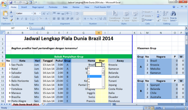 Jadwal Lengkap Piala Dunia Brazil 2014